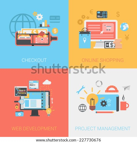 Flat checkout methods, online shopping, web development, project management concept. Vector icon banners template set. Money wallet, credit card, code. Web illustration. Website infographics elements. - stock vector