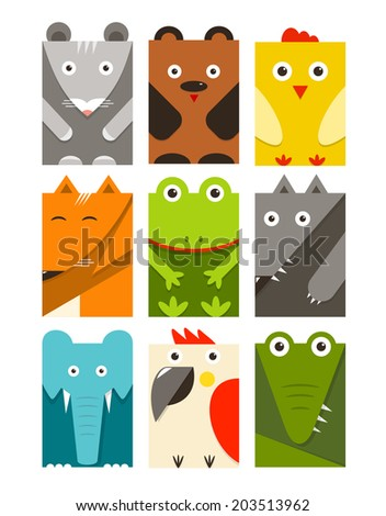 Flat Childish Rectangular Animals Set. Animals design collection. Vector layered EPS8 illustration. - stock vector