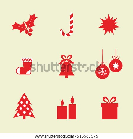 Flat Christmas icons elements. Vector illustration