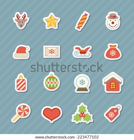 Flat christmas icons for web and applications - stock vector