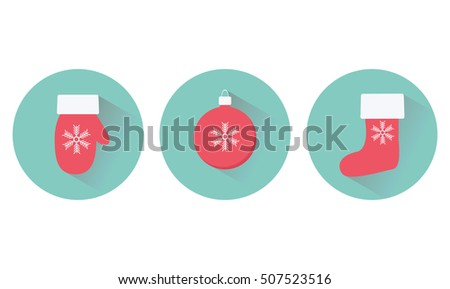 Flat Christmas icons with christmas attributes and shadows. Vector illustration
