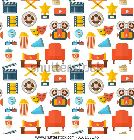 Flat cinema seamless pattern design with film reel, clapper, popcorn, 3D glasses, for print, fabric and web-design - stock vector