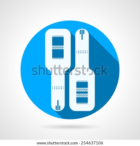 Flat circle blue vector icon for positive and negative pregnancy test on gray background with long shadow. - stock vector