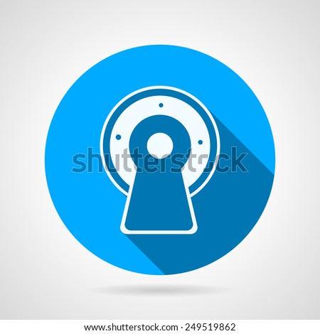 Flat circle blue vector icon white silhouette MRI equipment on gray background. Long shadow design - stock vector