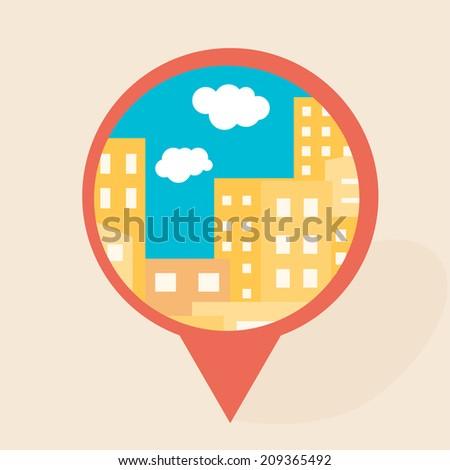 Flat city icon - stock vector