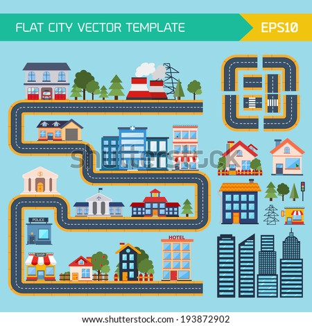 Flat city infographic background with buildings  - stock vector