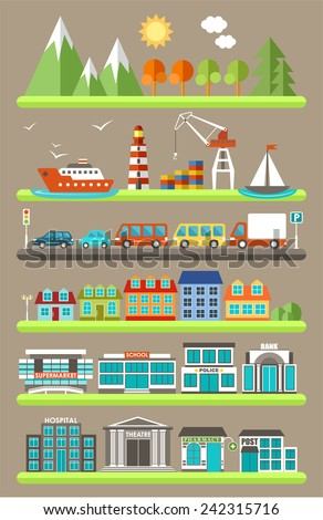 Flat city infographics. vector - stock vector