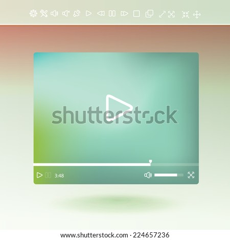 Flat clean video player for web and mobile apps - stock vector