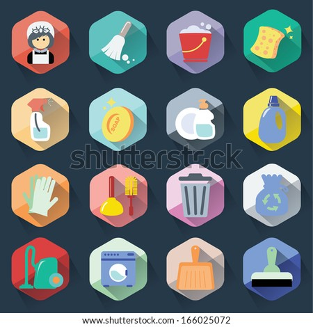 Flat cleaning icons - stock vector