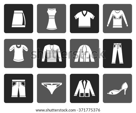 Flat Clothing Icons - Vector Icon Set - stock vector