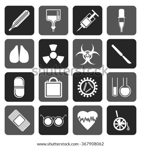 Flat collection of medical themed icons and warning-signs vector icon set - stock vector