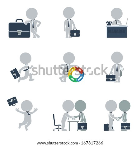Flat collection of people on business. Vector illustration. - stock vector