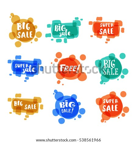 Flat color circle design big sale stickers set. Vector illustrations for online shopping, product promotions, website and mobile website badges, ads, print material.