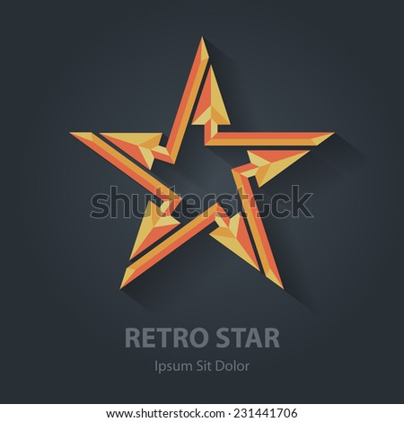 Flat color 3d Retro star logo. Sport international award. Star-shaped vector logotype template. - stock vector