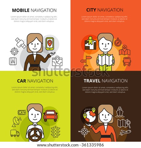 Flat color design concept set of mobile car travel and city navigation in cartoon style vector illustration - stock vector