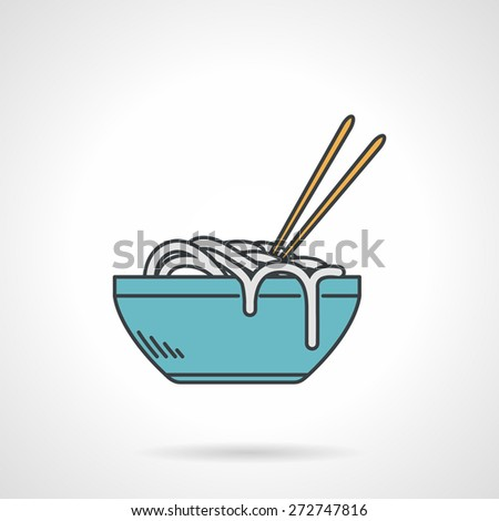 Flat color design vector icon for blue bowl with noodle and chopsticks on white  background - stock vector