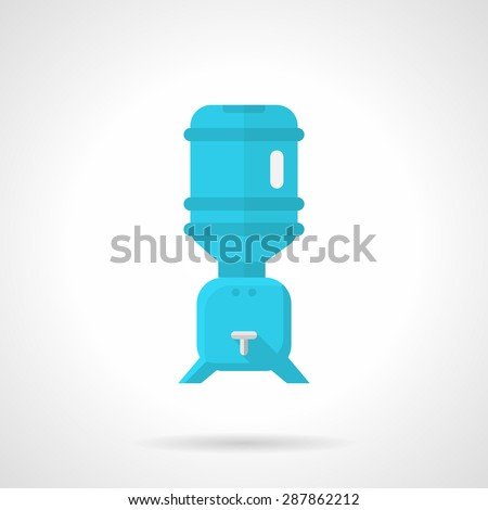 Flat color design vector icon for blue water cooler with rack for potable water with bottle on white background. - stock vector