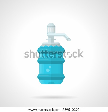 Flat color design vector icon for full water plastic bottle with pump for water cooler on white background. - stock vector