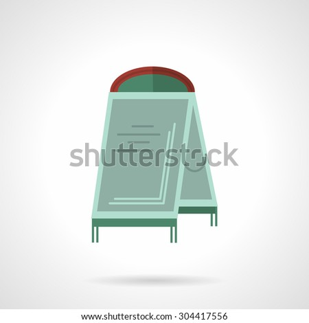 Flat color design vector icon for sandwich board with abstract sample message. Advertisement space, cafe ad, sidewalk board. Design element for business, logo and website.