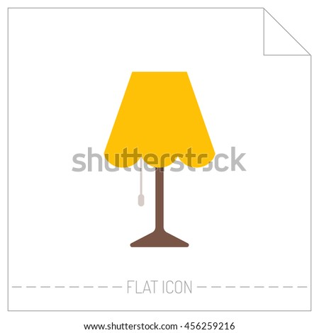 Flat color icon of table lamp. Object of interior, light source - stock vector