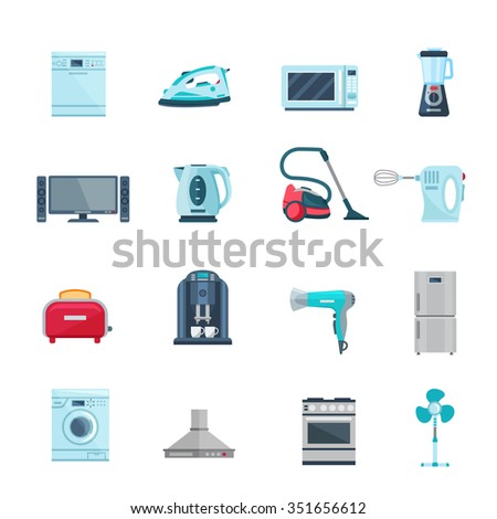 Flat color icons set of household appliances with vacuum iron tv refrigerator washing stove fan isolated vector illustration    - stock vector