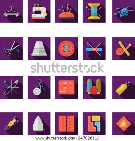 Flat color icons vector collection of sewing. Set of square purple flat vector icons for sewing and handmade items with long shadow on white background. - stock vector