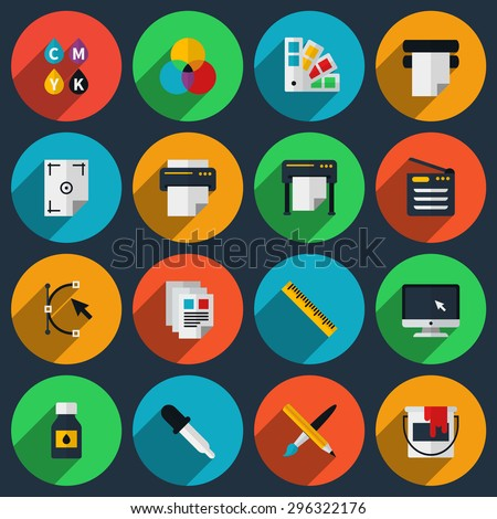 Flat color printing icons set. Bezier curve, pipette and monitor, production and spectrum, gamma and tool. Vector illustration - stock vector