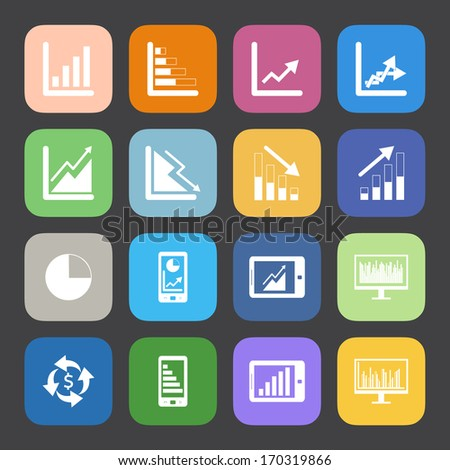 Flat Color style Business Graph icon vector set. - stock vector