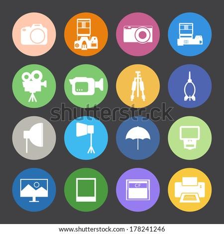 Flat Color style Camera and accessory icons vector set.