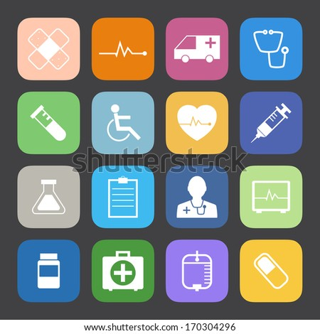 Flat Color style Medical Icons vector set.