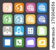 Flat Color style mobile phone icons network icons vector set. - stock vector