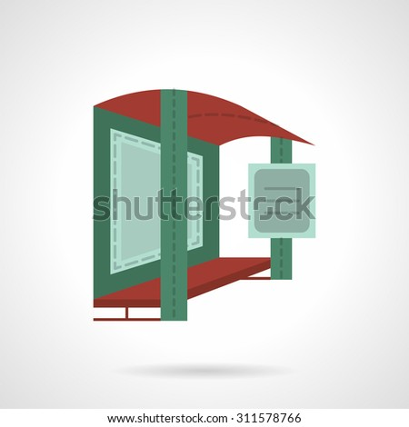 Flat color style vector icon for bus stop with banner. Objects and structures for outdoor advertising. Elements of web design for business or website. - stock vector