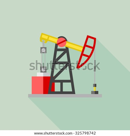 Flat color vector icon for oil extraction station. Pump jack, oil rig, petroleum derrick. Design element for business and website. Element for the logo - stock vector