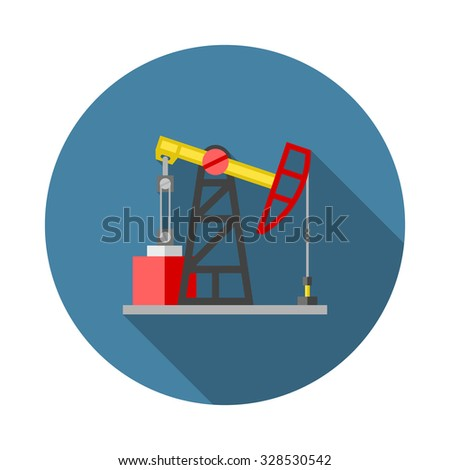 Flat color vector icon for oil extraction station. Pump jack, oil rig, petroleum derrick. Design element for business and website. Element for logo - stock vector