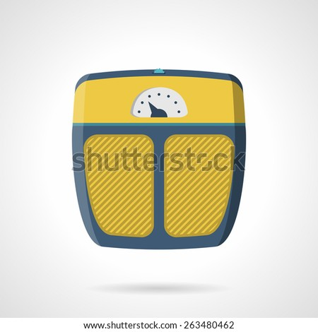 Flat color vector icon for yellow analogue scales for weigh control on trainings on white background. - stock vector