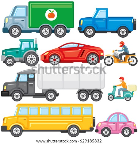 Flat Colored Cartoon Cars, Truck, School Bus, Cistern, Cargo Lorry, Pickup, Bike, Motorbike, Tractor . Vector Icon Set