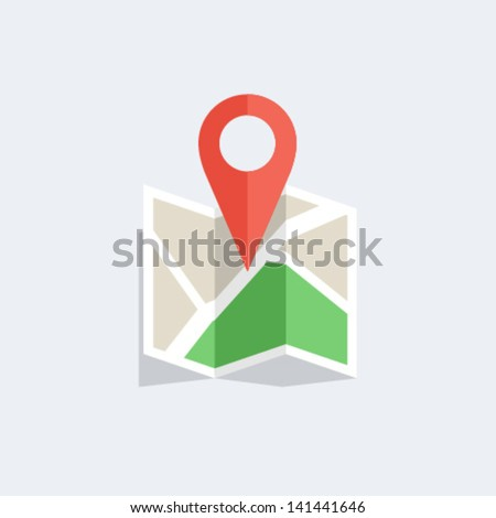 Flat colored location icon - stock vector