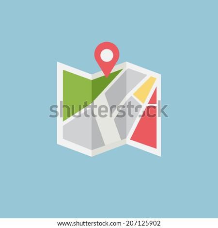 Flat colored location icon, vector - stock vector
