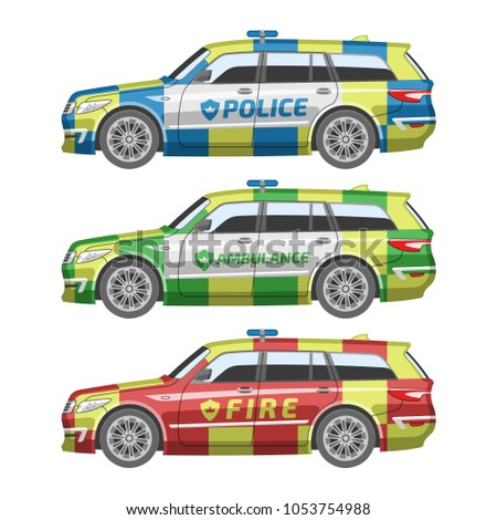 flat colorful british emergency car police stock vector 1053754988
