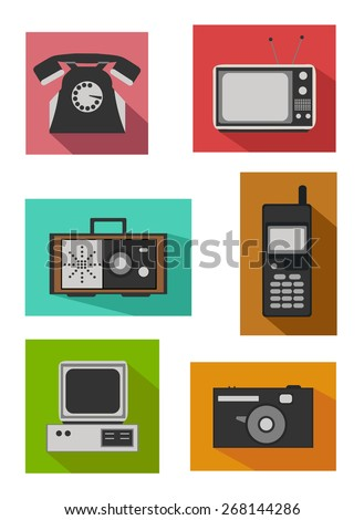 Flat colorful design - Icon set of retro electronics devices - stock vector
