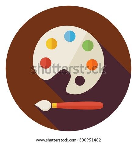 Flat Colorful Palette with Paintbrush Circle Icon with Long Shadow. Back to School and Education Vector illustration. Painting and Drawing Tool Object.  - stock vector