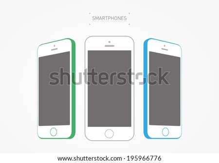 Flat Colorful Smartphone Mockup / EPS10 Vector Illustration / - stock vector