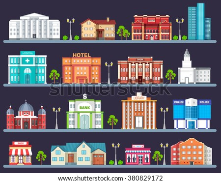 Flat colorful vector city buildings set. Icon background concept design. Architecture construction: courthouse, home, museum, skyscraper, hospital, hotel, opera, theater. Vector urban landscape - stock vector
