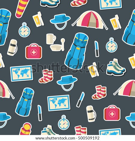 Flat colorful vector tourist equipment seamless pattern. Icons background concept design