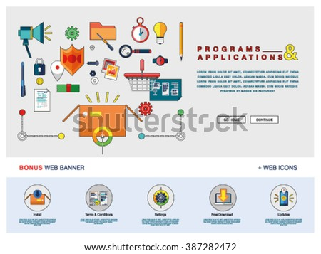 Flat Colorful Web Banner Template Design Stock Vector 398607667 ...