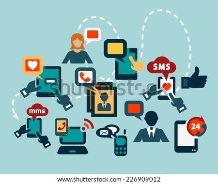 Flat Communication Icons Set for web and mobile. - stock vector