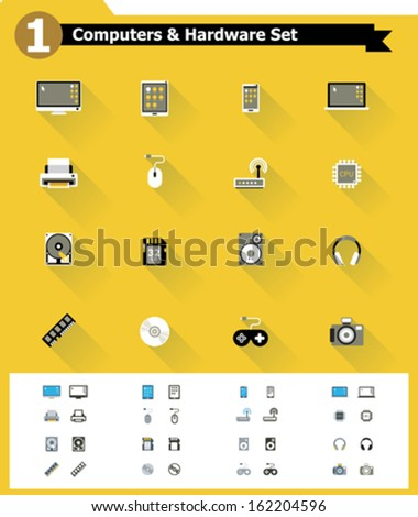 Flat computer hardware icon set - stock vector