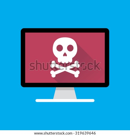 Flat Computer Icon with Death Sign