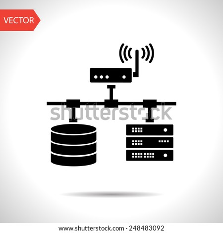 flat computer network with database wi-fi and server - stock vector