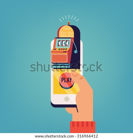 Flat concept design on online gambling with slot machine one armed bandit application displayed on mobile phone in hand - stock vector